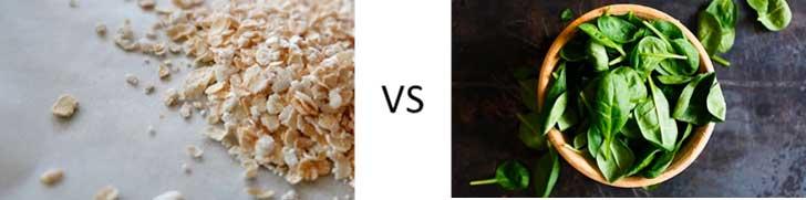 Cereales vs espinacas